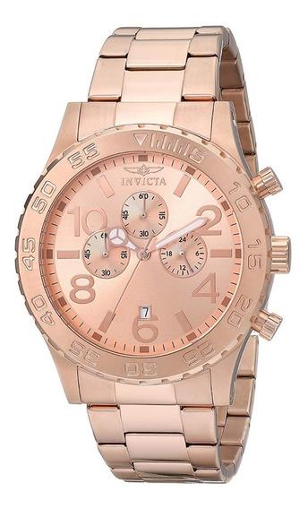 Reloj Invicta 1271 Men Crono Rosa Dial 18k Rose Gold Plt-50m