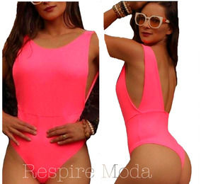 Body Neon Rosa Bore Decotado Costas Tendencia Verão 2019
