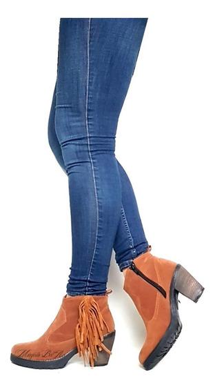 Botas Botita Zapatos Mujer Flecos Tachas Taco De 7 Cm Mugato