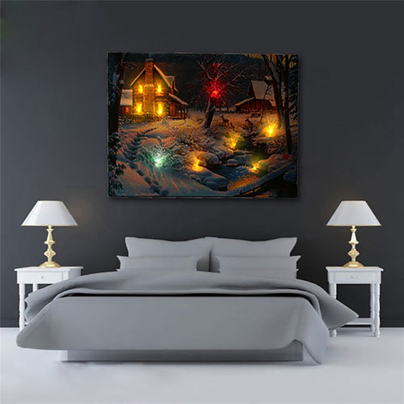Inverno Neve Cabine Led Luz Acima Iluminadas Lona Pintura Fo
