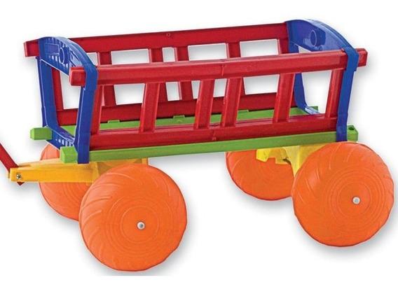 Carrito Wagon Arrastre Gigante Manija Porta Juguete Duravit