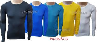 Camisa Camiseta Térmica Segunda Pele Compressão Longa Com Uv