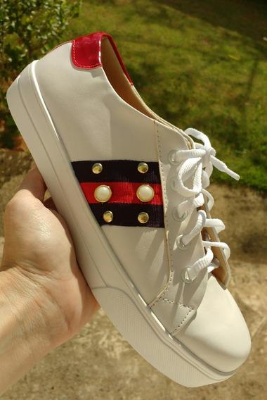 Tênis Feminino Branco/ Vermelho Perolas Tam. 36