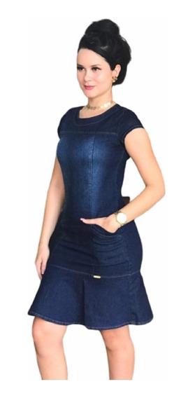 Vestido Feminino Jeans Moda Evangelica Rodado Tubinho Midi