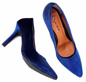 e58f1c5acc Scarpin Azul Royal Veludo - Sapatos no Mercado Livre Brasil