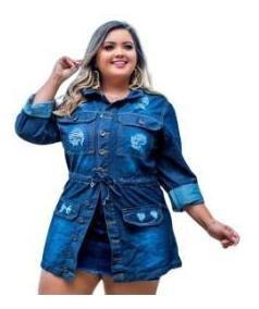 Jaqueta Jeans Feminina Parka Plus Size 12xs/juros Frete Grát