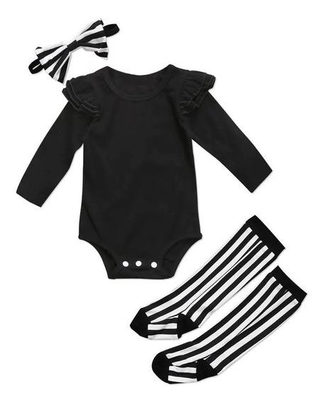Conjunto Bebê Vedete Baby Body Manga Longa, Meia Longa E Faixa Para Cabelo