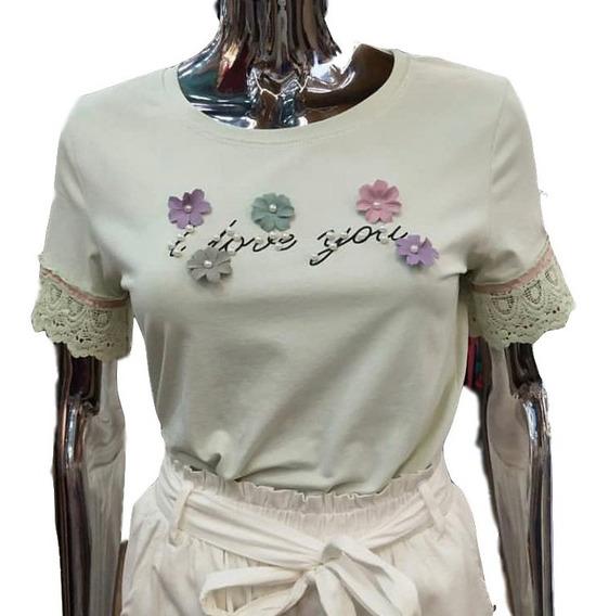 Blusa T-shirt Fem Algodao Floral Perolas Blogueira Importado