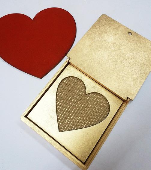 Caixa Porta Alianças Coração Dourado Personalizado