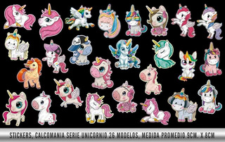 650 , Sticker , Calcomanía Etiqueta De Serie Unicornio