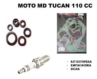 Kit Motor Md Tucan 110cc (empacadura + Bujia + Estopera)