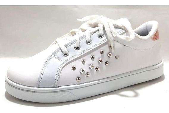 Sam123 Zapatillas Talles Grandes Mujer Blancas Tachitas