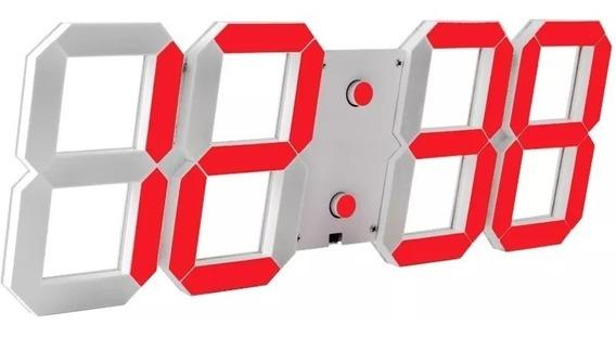 Relogio Mesa Parede Led Decorativo Termometro Alarme Verm.