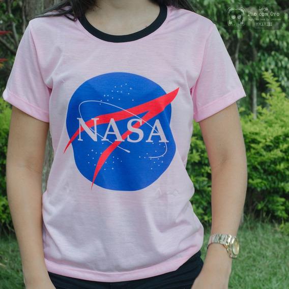 Camiseta Nasa Logo Geek Nerd Tumblr Baby Look Blusa