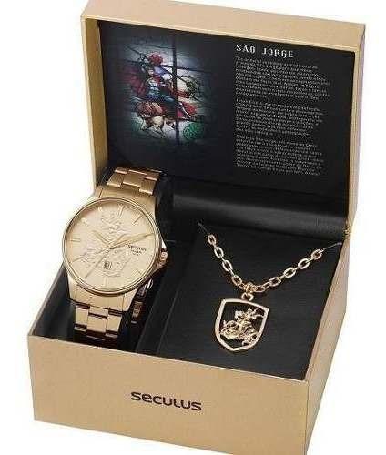 Relógio Seculus Masculino Dourado São Jorge 28933gpskda1k1
