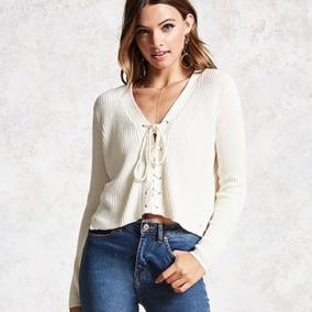 Forever 21 Sweater Crema Tejido Cordones Frente Abierto S Ch