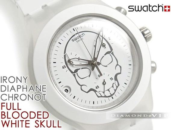 Relógio Feminino Swatch Irony Skull Swiss Original Branco