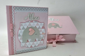 Álbum Diário Do Bebê C/cx Personalizado Elefante Rosa 60foto