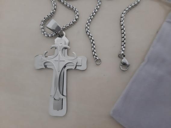 Crucifixo De Aço Inoxidável Com Corrente 3,5 X 5,6 Cm Lindo