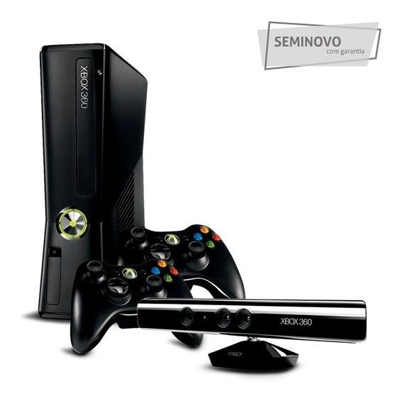 Xbox 360 Slim + Kinect + 2 Controles - Roda Qualquer Jogo
