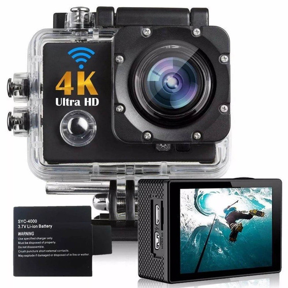 Kit Filmadora Action Cam Go Sports Câmera 4k + Bateria Extra