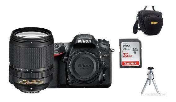 Câmera Nikon D7200 C/lente 18-140mm+32gb+bolsa+tripé