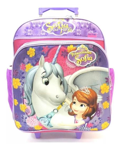 Mochila Infantil Princesa Sofia Unicornio Rodinhas Tam G F4