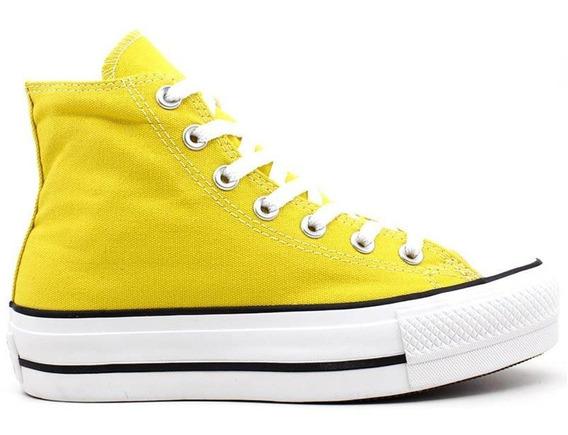 Tênis Converse Chuck Taylor All Star Amarelo Alto Plataforma