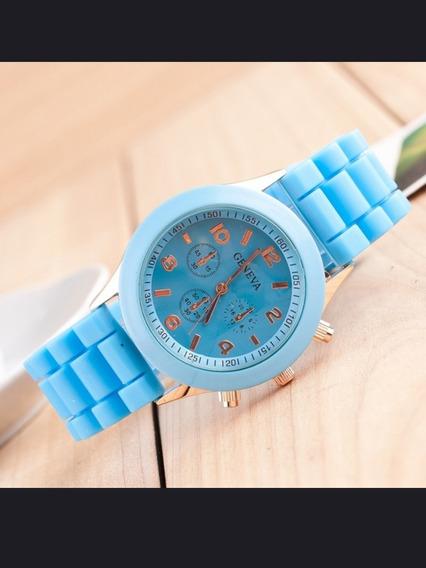 Relógio De Pulso Geneva Feminino Pulseira De Silicone Quartz