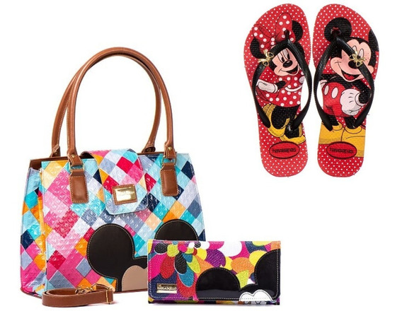 Kit Bolsas Feminina Com Carteira + Chinelo Mickey Minnie