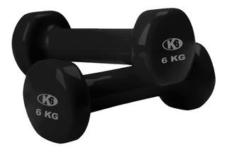 Mancuerna Pesas Gym Para Ejercicios De Vinyl 6kg K6 Fitness
