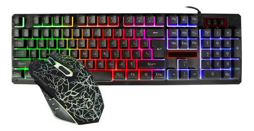 Kit Gamer Xtreme Pc Teclado Mouse Usb Iluminado K13 Ingles