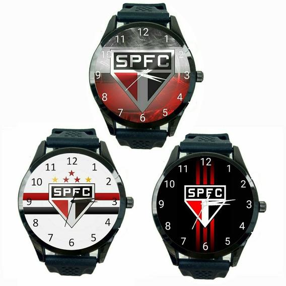 Kit 3 Relógios São Paulo Masculino Tricolor Futebol Fc T452