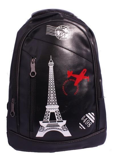 Mochila Bolsa Feminina Capa Paris Couro Preta Torre Eiffel