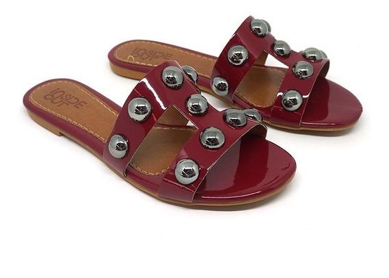 Sandália Doma Shoes Rasteira Vermelha Tiras Com Esferas