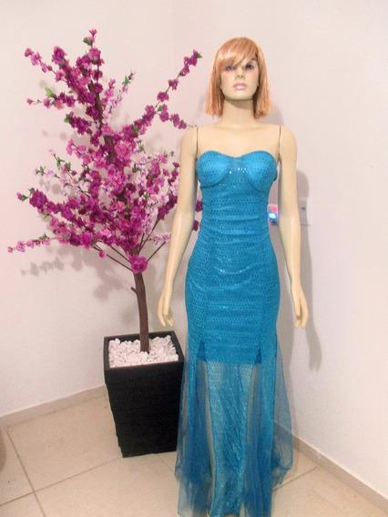 Vestido Longo Azul Luxo Importado Pronta Entrega No Brasil