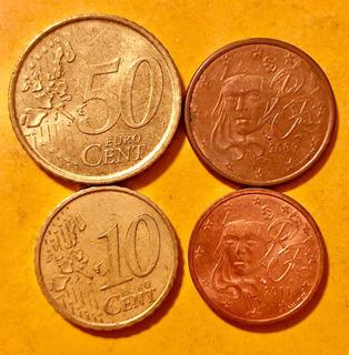 4 Monedas Euros En Buenas Condiciones