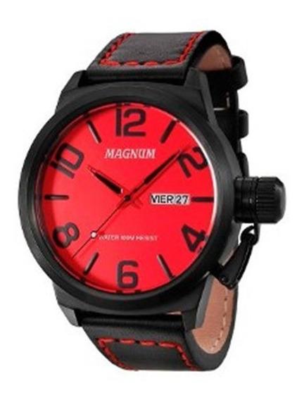 Relógio Masculino Magnum Pulseira Couro Ma33399v - F Grátis