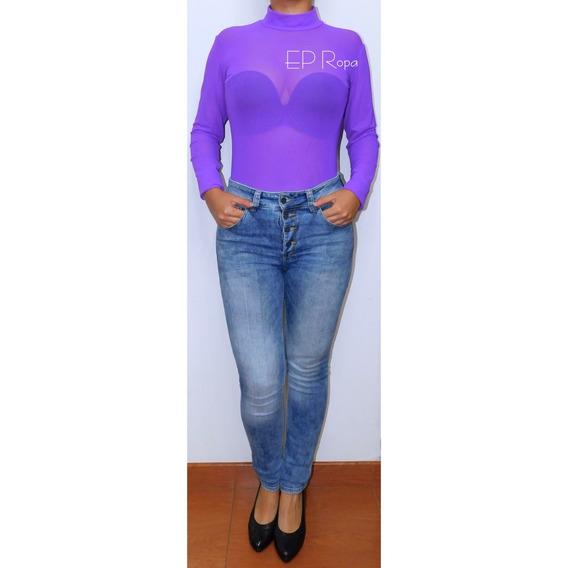 Blusa Body Transparente Malla Cuello Alto Tortuga Moda Mujer