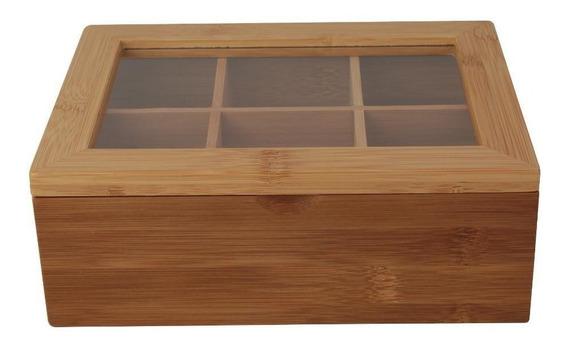 Caixa Para Chá Bambu 6 Divisórias 21cm - A/casa