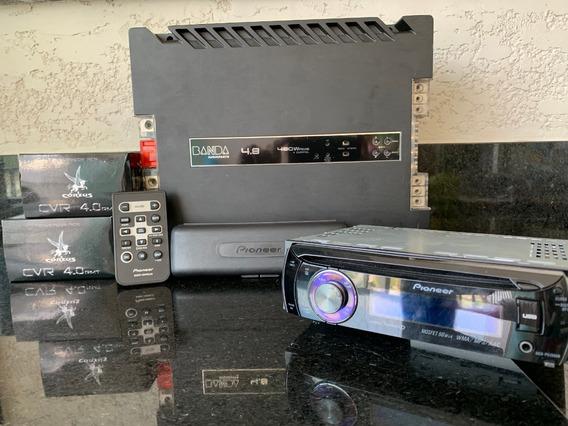 Kit Som Automotivo (módulo Banda+cd Pioneer+conversor Rca)