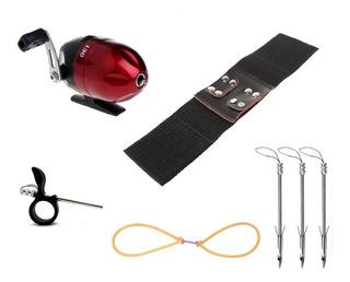 Kit Pesca P/ Atiradeira Carretilha 3 Dardos Flecha + Bracele