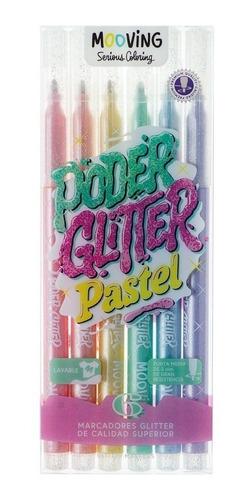 Imagen 1 de 5 de Marcadores Poder Glitter Color Pastel Mooving X6 3021606 Edu