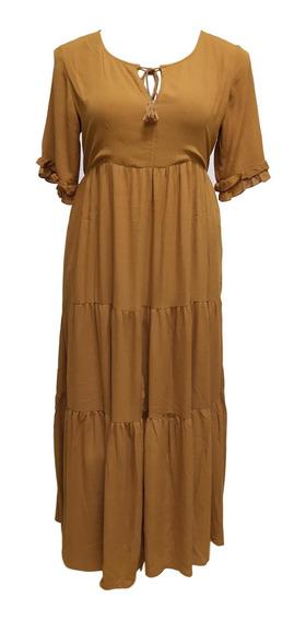 Vestido Longo Manga Curta Indiano Crepe Moda Boho 1543