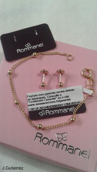 Pulseira Bebê Rommanel Bolinhas 2mm + Brinco (550104/520797)