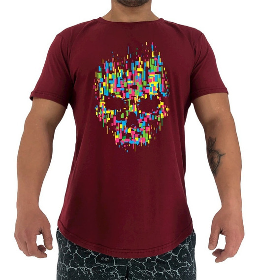 Camiseta Longline Mxd Caveira Abstrata Skull Abstract