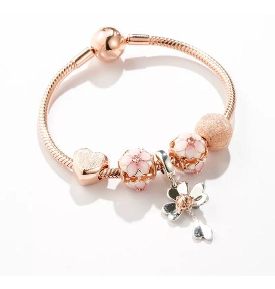 Pulseira Completa Rosé Gold Pandora Com 5 Berloques Tam22