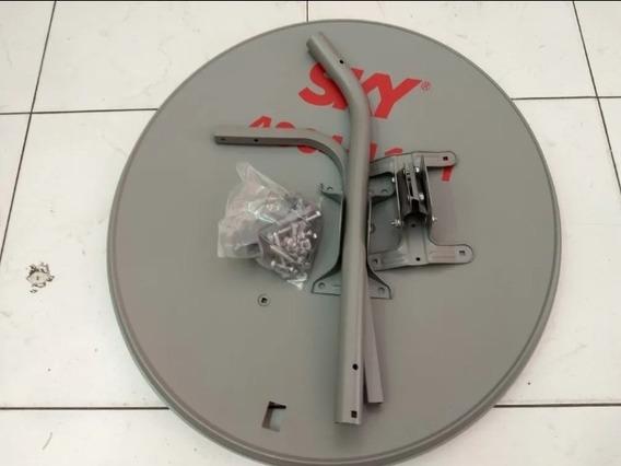 Kit Com Antena 60cm Chapa Ku E Lnb Universal Duplo