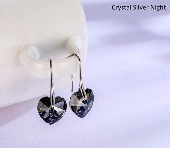 Aros Lagrima Corazon Cristal Swarovski Elements Plata925