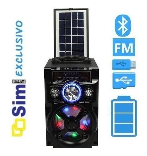 Caixa De Som Bluetooth Rádio Fm Am Sw Usb Painel Solar E33